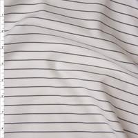 Black on White Horizontal Pinstripe Designer Ponte De Roma Fabric By The Yard
