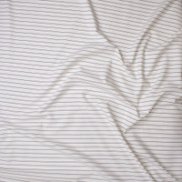 Black on White Horizontal Pinstripe Designer Ponte De Roma Fabric By The Yard - Wide shot