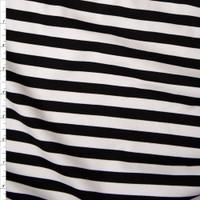 Black and White Stripe Designer Ponte De Roma Fabric By The Yard
