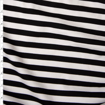 Black and White Stripe Designer Ponte De Roma Fabric By The Yard