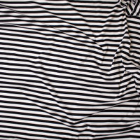 Black and White Stripe Designer Ponte De Roma Fabric By The Yard - Wide shot