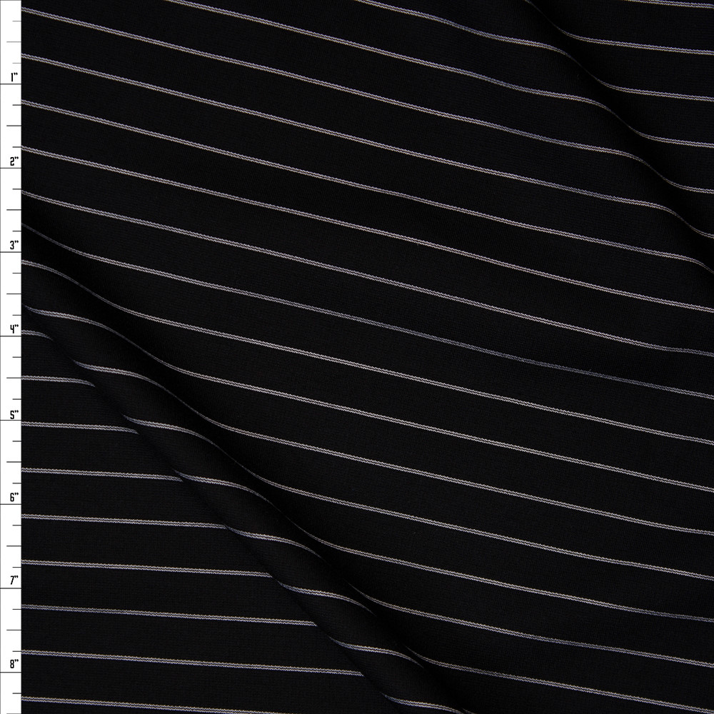 White on Black Horizontal Pinstripe Designer Ponte De Roma Fabric By The Yard