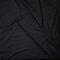 White on Black Horizontal Pinstripe Designer Ponte De Roma Fabric By The Yard - Wide shot
