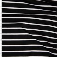 White on Black Horizontal Pencil Stripe Designer Ponte De Roma Fabric By The Yard