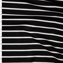 White on Black Horizontal Pencil Stripe Designer Ponte De Roma Fabric By The Yard