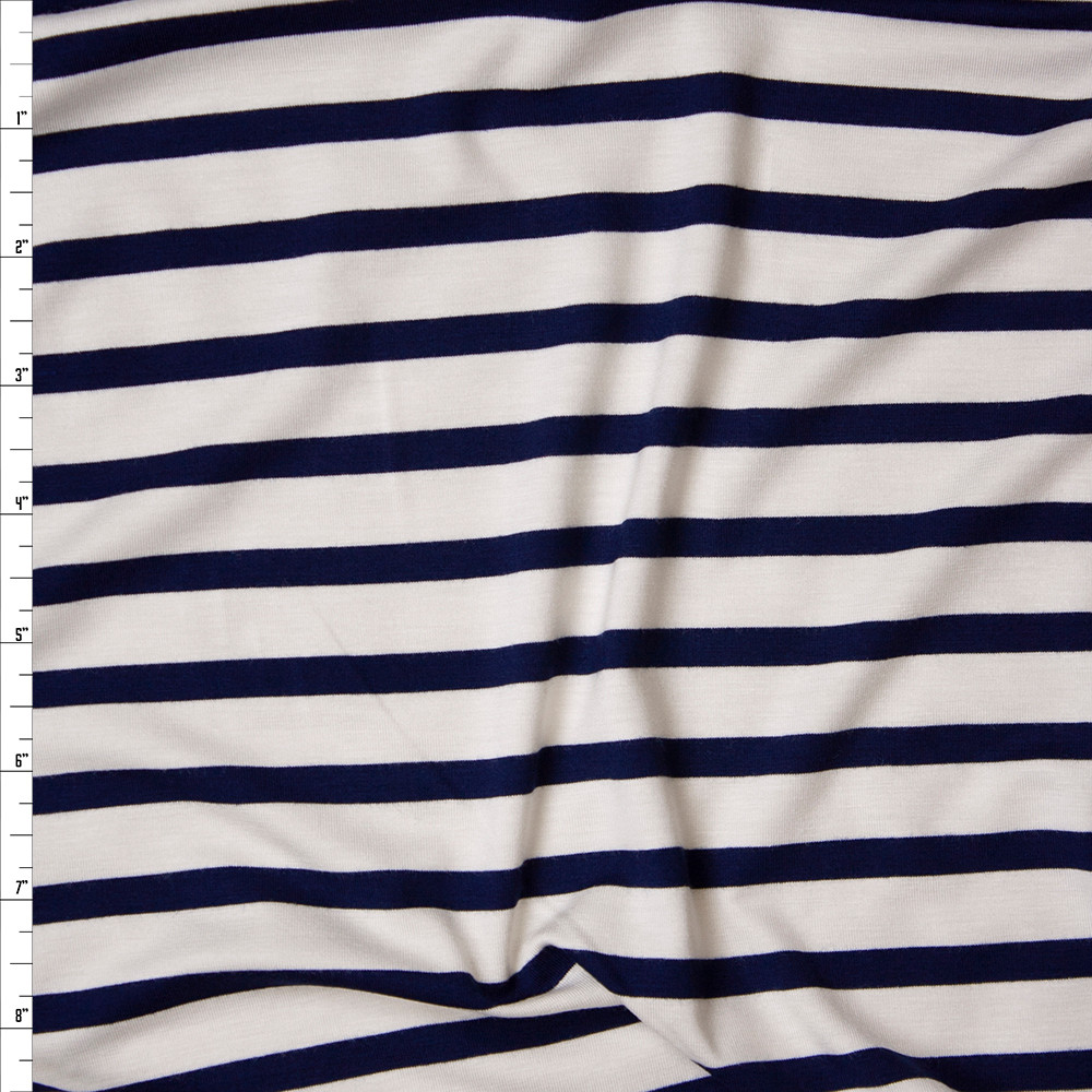Navy on Offwhite Horizontal Pencil Stripe Stretch Modal Jersey Fabric By The Yard