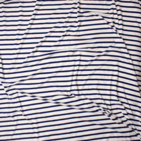 Navy on Offwhite Horizontal Pencil Stripe Stretch Modal Jersey Fabric By The Yard - Wide shot