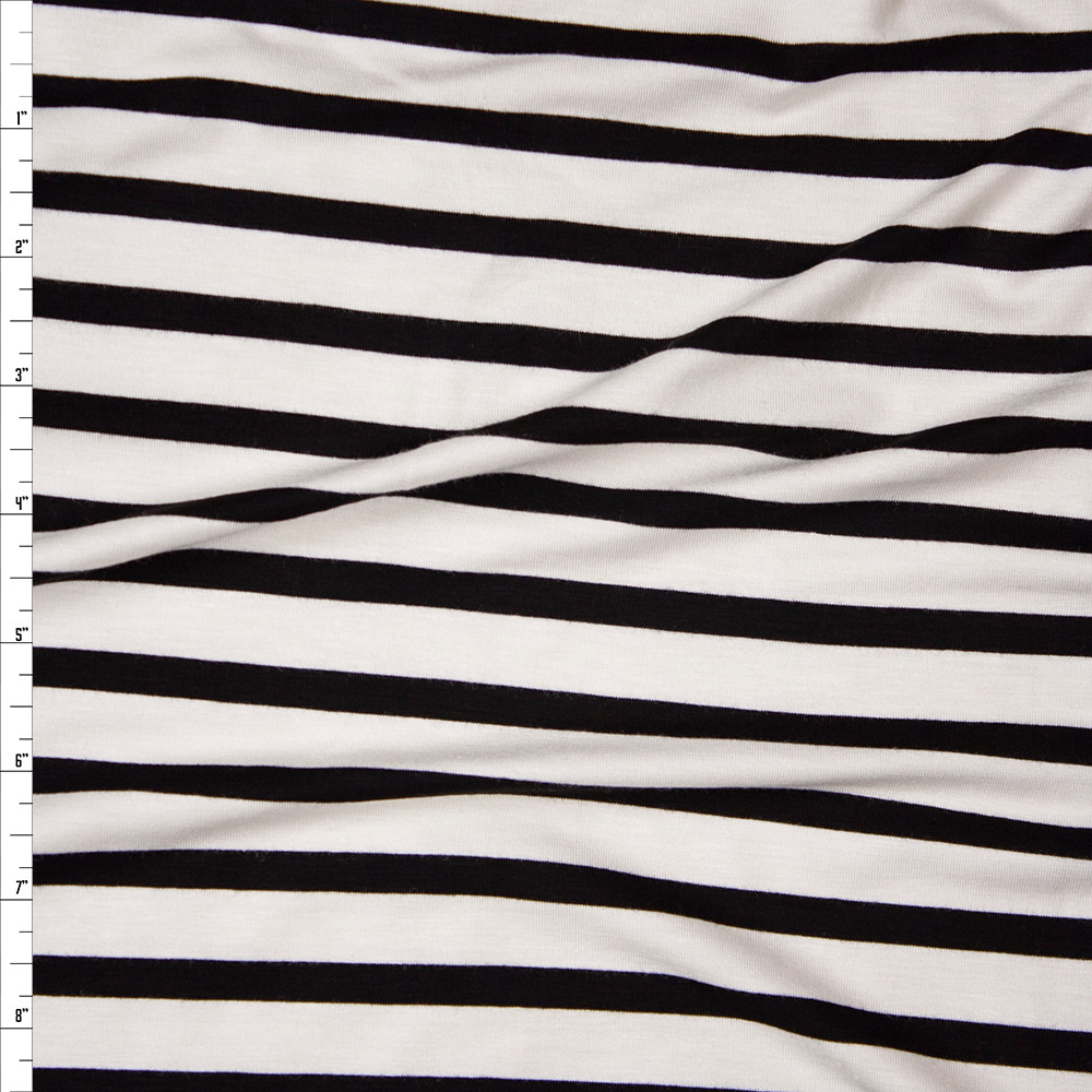 Black on Offwhite Horizontal Pencil Stripe Stretch Modal Jersey Fabric By The Yard