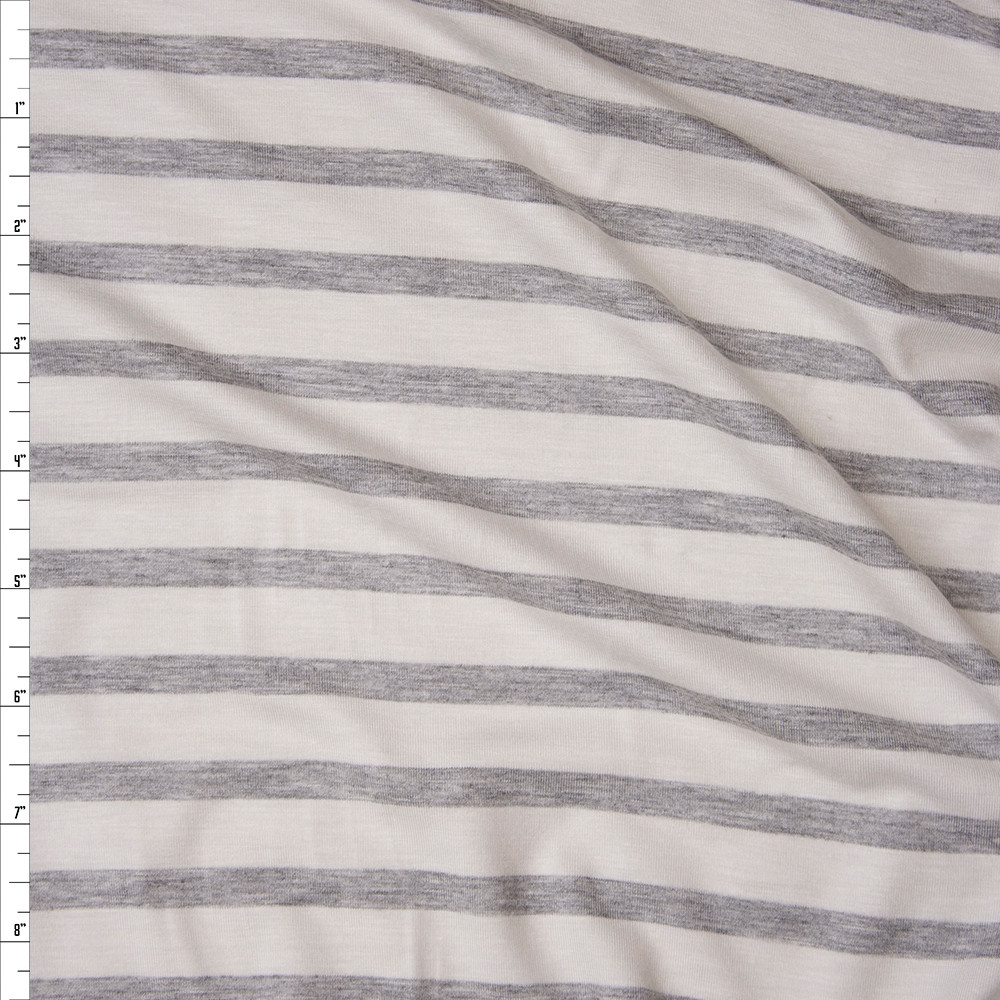 Light Grey Heather on Offwhite Horizontal Pencil Stripe Stretch Modal Jersey Fabric By The Yard