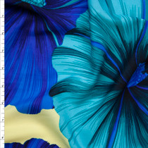 Blue and Teal Large Tropical Floral on Butter Yellow Polyester Challis Fabric By The Yard