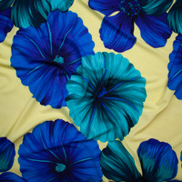 Blue and Teal Large Tropical Floral on Butter Yellow Polyester Challis Fabric By The Yard - Wide shot