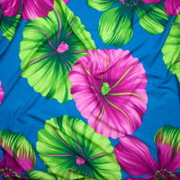 Hot Pink and Lime Green Large Tropical Floral on Turquoise Polyester Challis Fabric By The Yard - Wide shot