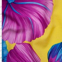 Hot Pink and Turquoise Large Tropical Floral on Bright Yellow Polyester Challis Fabric By The Yard