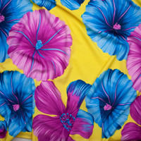 Hot Pink and Turquoise Large Tropical Floral on Bright Yellow Polyester Challis Fabric By The Yard - Wide shot