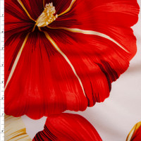 Red and Tan Large Tropical Floral on Ivory Polyester Challis Fabric By The Yard