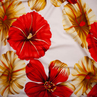 Red and Tan Large Tropical Floral on Ivory Polyester Challis Fabric By The Yard - Wide shot