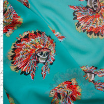 Vibrant Skulls with Headdresses on Turquoise Poly Chiffon Fabric By The Yard