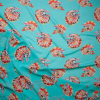 Vibrant Skulls with Headdresses on Turquoise Poly Chiffon Fabric By The Yard - Wide shot