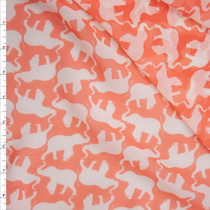 White Elephants on Bright Peach Poly Chiffon Fabric By The Yard