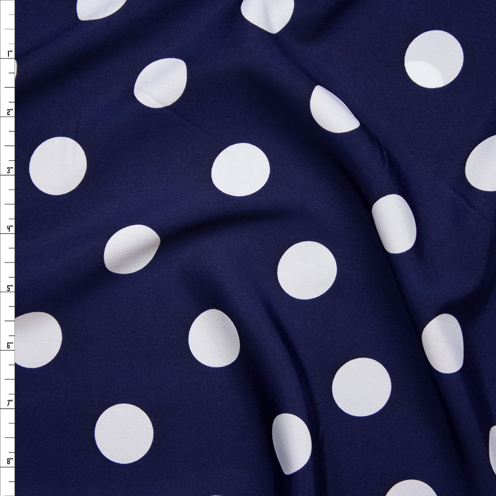 "White on Navy Blue 1"" Polka Dot Poly Crepe De Chine Fabric By The Yard"