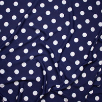 "White on Navy Blue 1"" Polka Dot Poly Crepe De Chine Fabric By The Yard - Wide shot"