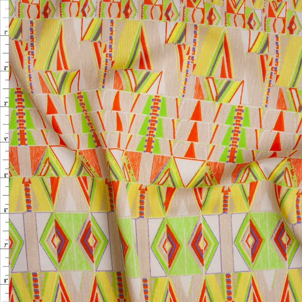 Yellow, Orange, Lime, and Tan Tribal Pattern Poly Crepe De Chine Fabric By The Yard