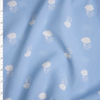 White Thunderclouds on Baby Blue Poly Peachskin Fabric By The Yard