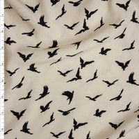 Black Bird Silhouettes on Ivory Poly Peachskin Fabric By The Yard