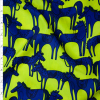 Bright Blue and Black Horses on Neon Lime Green Poly Peachskin Fabric By The Yard