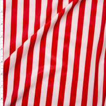 Red and White Horizontal Stripe Nylon/Lycra Fabric By The Yard