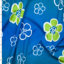 Lime and White Tropical Flowers on Ombre Blue Nylon/Lycra Print Fabric By The Yard
