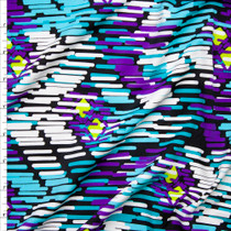 Black, Purple, and Aqua Abstract Angles Nylon/Lycra Fabric By The Yard