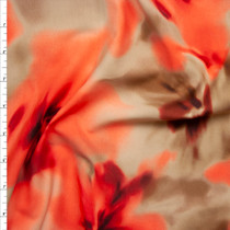 Orange and Tan Blurred Flowers Nylon/Lycra Fabric By The Yard