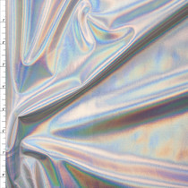 Premium Silver Iridescent Lycra Lame Fabric By The Yard