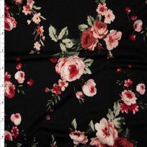Dusty Mauve, Pink, and Sage Rose Floral on Black Double Brushed Poly Spandex Print Fabric By The Yard