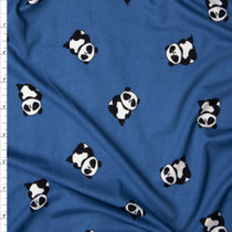 Chunky Pandas on Slate Double Brushed Poly Spandex Print Fabric By The Yard