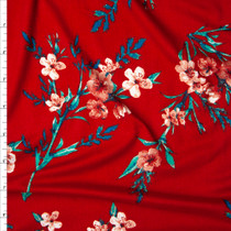 Dusty Coral, Teal, and Seafood Floral on Bright Red Double Brushed Poly Spandex Print Fabric By The Yard