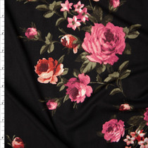 Pink, Sage, and  Brick Red Rose Floral Double Brushed Poly Spandex Print Fabric By The Yard