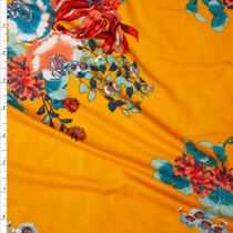 Red Orange, Teal, and Aqua Floral on Mango Double Brushed Poly Spandex Print Fabric By The Yard