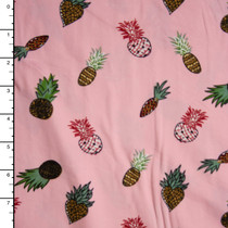 Pineapples on Pink Double Brushed Poly Spandex Fabric By The Yard