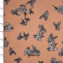 Black and White Butterflies on Peach Double Brushed Poly Spandex Fabric By The Yard