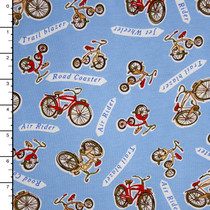 Bicycles on Light Blue Stretch Cotton Jersey Fabric By The Yard