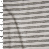 Light Grey Heather and White Horizontal Stripe Ponte De Roma Fabric By The Yard