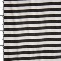 Dark Heather Grey and White Horizontal Stripe Ponte De Roma Fabric By The Yard