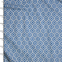 Blue and White Geometric Pattern Nylon/Lycra Fabric By The Yard