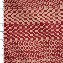 Tan and Burgundy Geometric Horizontal Stripe Liverpool Knit Fabric By The Yard