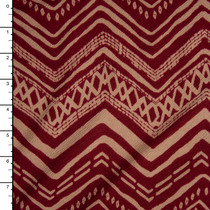 Tan and Burgundy Tribal Chevron Liverpool Knit Fabric By The Yard