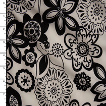 Black Flowers on Ivory Scuba Fabric By The Yard