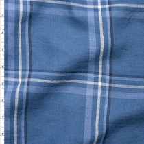 Blue and White Plaid Linen Fabric By The Yard