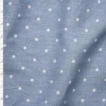 White on Dusty Blue Polka Dot Linen Fabric By The Yard